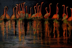 Facchini Gianfranco - Fenicotteri - Olio su Tela 30x60