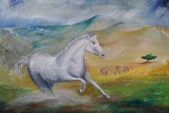 Gianfranco Facchini - La corsa - Olio su tela con sabbia - 70x90