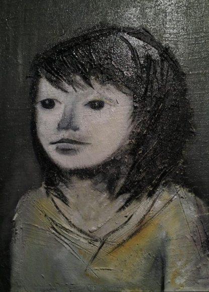 Facchini Gianfranco - Bambina di Xavier Bueno - Acrilico su materico - 50x60