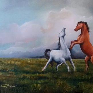 Facchini Gianfranco - olio su tela 60x40 - cavalli - amore odio